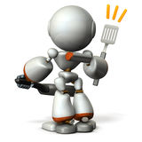 Cute robot with confidence in cooking skills. 3D illustration Stock Photography
