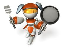 Cute robot with cooking utensils. She is proud of the skill of cooking. 3D illustration Royalty Free Stock Images