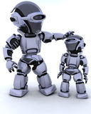 Cute robot cyborg with child Stock Image
