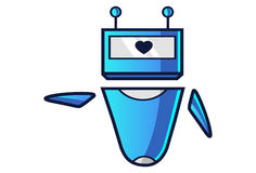 Cute Robot displaying heart. Vector Illustration. Isolated on white background Royalty Free Stock Image