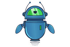 Cute Robot displaying heart. Vector Illustration. Isolated on white background Royalty Free Stock Images
