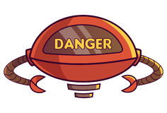 Cute Robot displaying message DANGER. Vector Illustration. Isolated on white background Stock Photo
