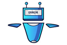 Cute Robot displaying message ERROR! Stock Photo