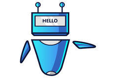 Cute Robot displaying message HELLO! Royalty Free Stock Images