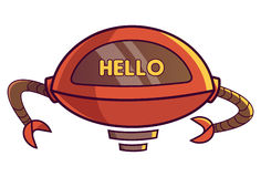 Cute Robot displaying message HELLO!. Vector Illustration. Isolated on white background Stock Images