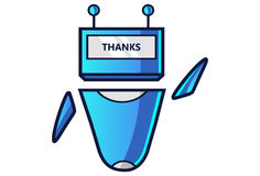 Cute Robot displaying message THANKS!. Vector Illustration. Isolated on white background Royalty Free Stock Image