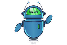 Cute Robot displaying message THANKS!. Vector Illustration. Isolated on white background Royalty Free Stock Images