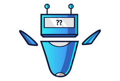 Cute Robot displaying question mark sign. Vector Illustration. Isolated on white background Royalty Free Stock Images