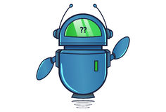 Cute Robot displaying question mark. Vector Illustration. Isolated on white background Royalty Free Stock Photography