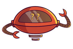 Cute Robot displaying Question marks. Vector Illustration. Isolated on white background Royalty Free Stock Image