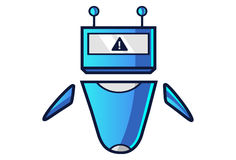Cute Robot displaying WARNING sign!. Vector Illustration. Isolated on white background Royalty Free Stock Images