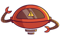 Cute Robot displaying WARNING sign. Vector Illustration. Isolated on white background Stock Photos
