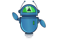 Cute Robot displaying WARNING sign. Vector Illustration. Isolated on white background Stock Image