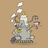 Cute robot doodle drawing Stock Photos