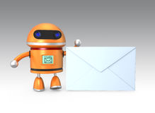Cute robot with an envelope Stock Photo