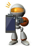 A cute robot explains it using a tablet PC. Royalty Free Stock Photography