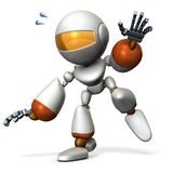 A cute robot that follows something. He is on the verge of falling. stock illustration