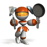 That cute robot is good at cooking. 3D illustration Stock Images