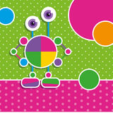 Cute robot greeting card. Illustration of a robot with multi color circles on green and pink polka dot pattern backgrounds Stock Images