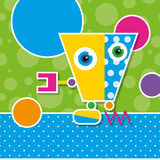 Cute robot greeting card Stock Images