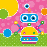 Cute robot greeting card. Illustration of a robot with multi color circles on pink and green polka dot pattern backgrounds Royalty Free Stock Images
