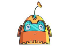Cartoon Illustration Of Cute Robot. Cute Robot happy. Vector Illustration. Isolated on white background