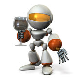 Cute robot has been greeting a glass of wine in one hand. Royalty Free Stock Image