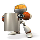 Cute robot has a big pot. Royalty Free Stock Photography