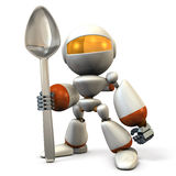 Cute robot  has a big spoon. Stock Photography