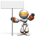 Cute robot has a display intention. Royalty Free Stock Image