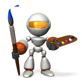 The cute robot has a large paintbrush and palette. Stock Photos
