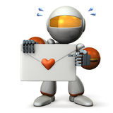Cute robot has a love letter. Stock Image