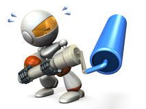 Cute robot has a roller. He is painter. 3D illustration Royalty Free Stock Photos