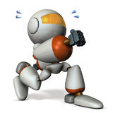 Cute robot has run away secretly. Royalty Free Stock Photography