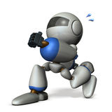 Cute robot has run away secretly. Royalty Free Stock Images