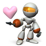 The cute robot has a sincere heart. Stock Photography