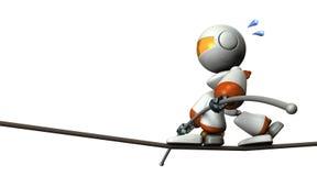 Cute robot has a tightrope. He has a long balance bar. Stock Image