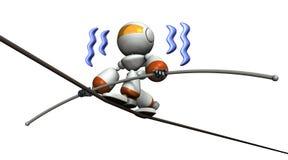 Cute robot has a tightrope. He has a long balance bar. Stock Photos