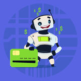 Cute Robot Hold Credit Card Mobile Payment Online Shopping Modern Artificial Intelligence Technology Concept. Flat Vector Illustration Stock Photography
