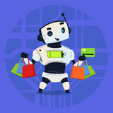 Cute Robot Hold Credit Card Mobile Payment Online Shopping Modern Artificial Intelligence Technology Concept. Flat Vector Illustration Royalty Free Stock Photos