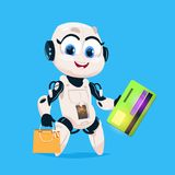 Cute Robot Hold Greeting Card And Shopping Bags Robotic Girl Isolated Icon On Blue Background Modern Technology. Artificial Intelligence Concept Flat Vector Stock Images