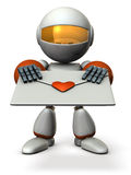 Cute robot that hold out a love letter. Royalty Free Stock Photos