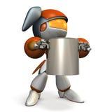 A cute robot holding a big pot. 3D illustration Stock Images