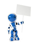 Cute Robot Holding Blank Sign Stock Images