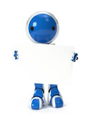 Cute Robot Holding Blank Sign Over Body Royalty Free Stock Images