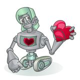 Cute robot holding love icon isolated on white Stock Image