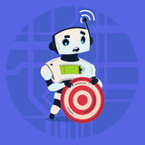 Cute Robot Holding Taget Aim Modern Artificial Intelligence Technology Concept. Flat Vector Illustration Royalty Free Stock Photography
