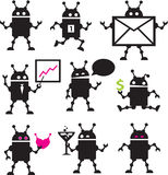 Cute robot icons black and white. Stock Images