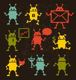 Cute robot icons black and white. Royalty Free Stock Photo