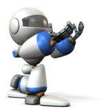 Cute robot kneeling is receiving something. Royalty Free Stock Images